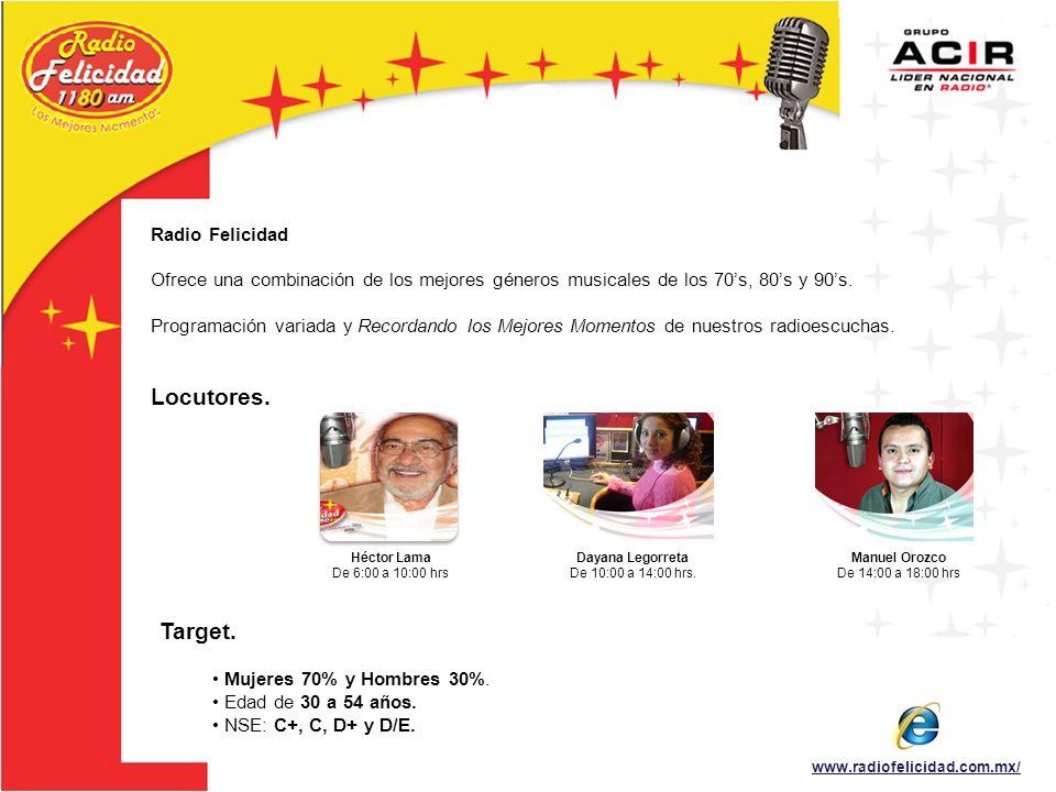 Locutores. Target. Radio Felicidad