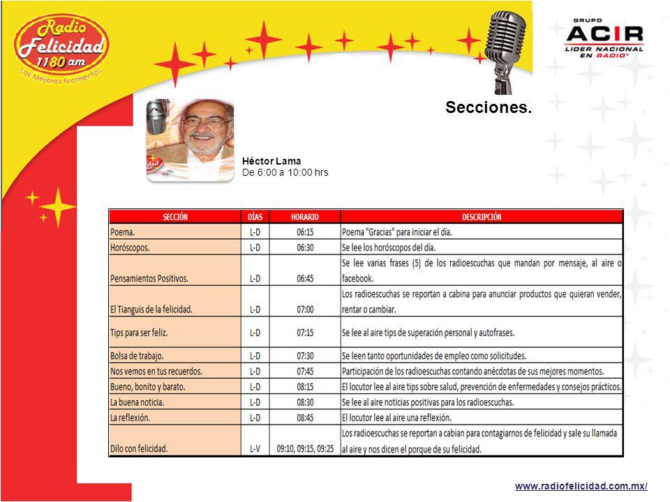 Secciones. Héctor Lama De 6:00 a 10:00 hrs www.radiofelicidad.com.mx/