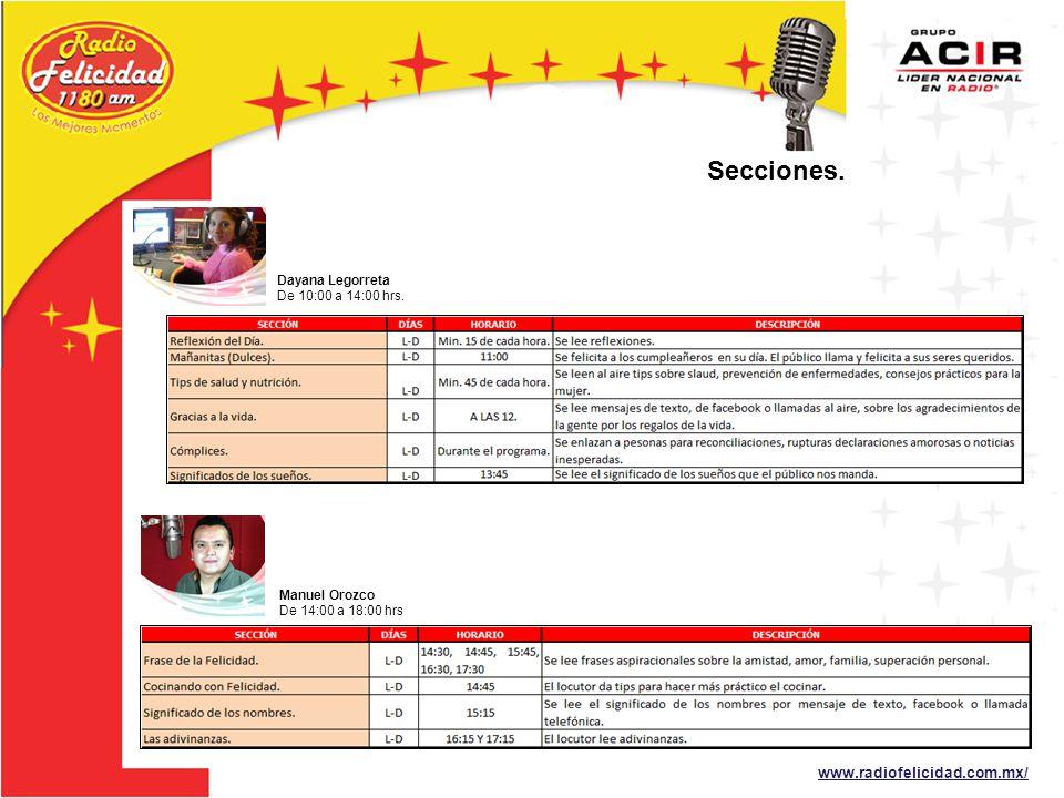 Secciones. www.radiofelicidad.com.mx/ Dayana Legorreta