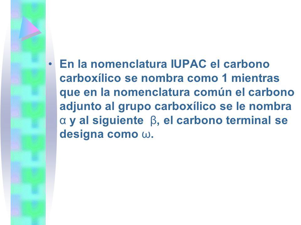 En la nomenclatura IUPAC el carbono carboxílico se nombra como 1 mientras que en la nomenclatura común el carbono adjunto al grupo carboxílico se le nombra α y al siguiente β, el carbono terminal se designa como ω.