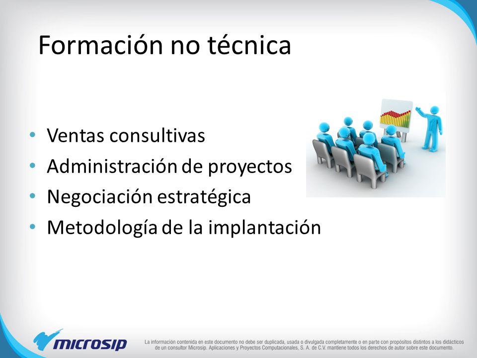 Formación no técnica Ventas consultivas Administración de proyectos