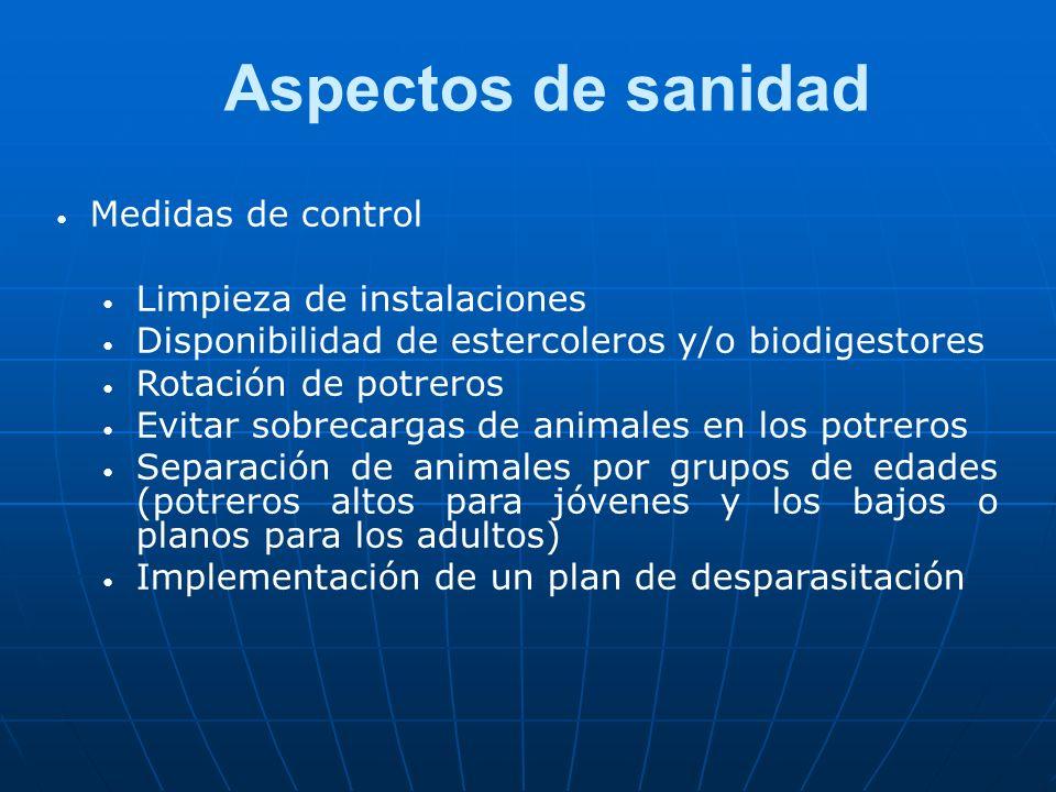 Aspectos de sanidad Medidas de control Limpieza de instalaciones