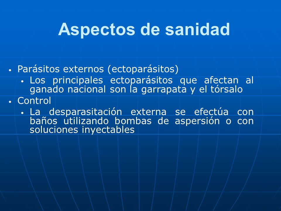 Aspectos de sanidad Parásitos externos (ectoparásitos)