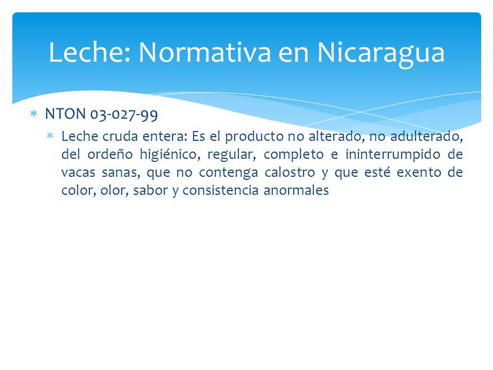 Leche: Normativa en Nicaragua