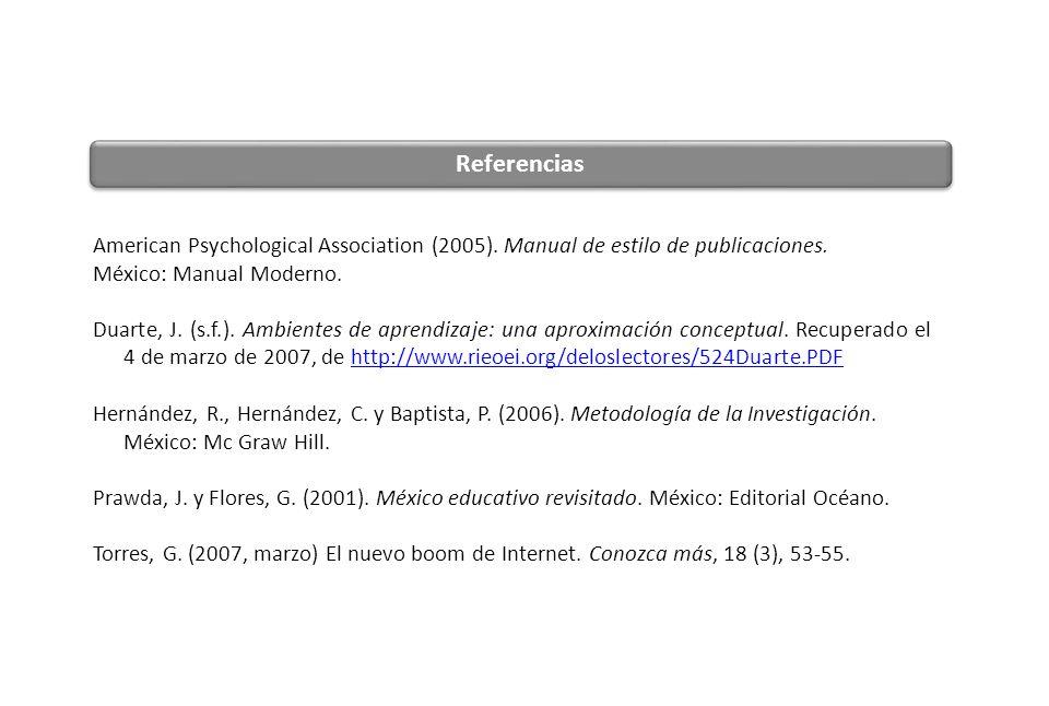 Referencias American Psychological Association (2005). Manual de estilo de publicaciones. México: Manual Moderno.