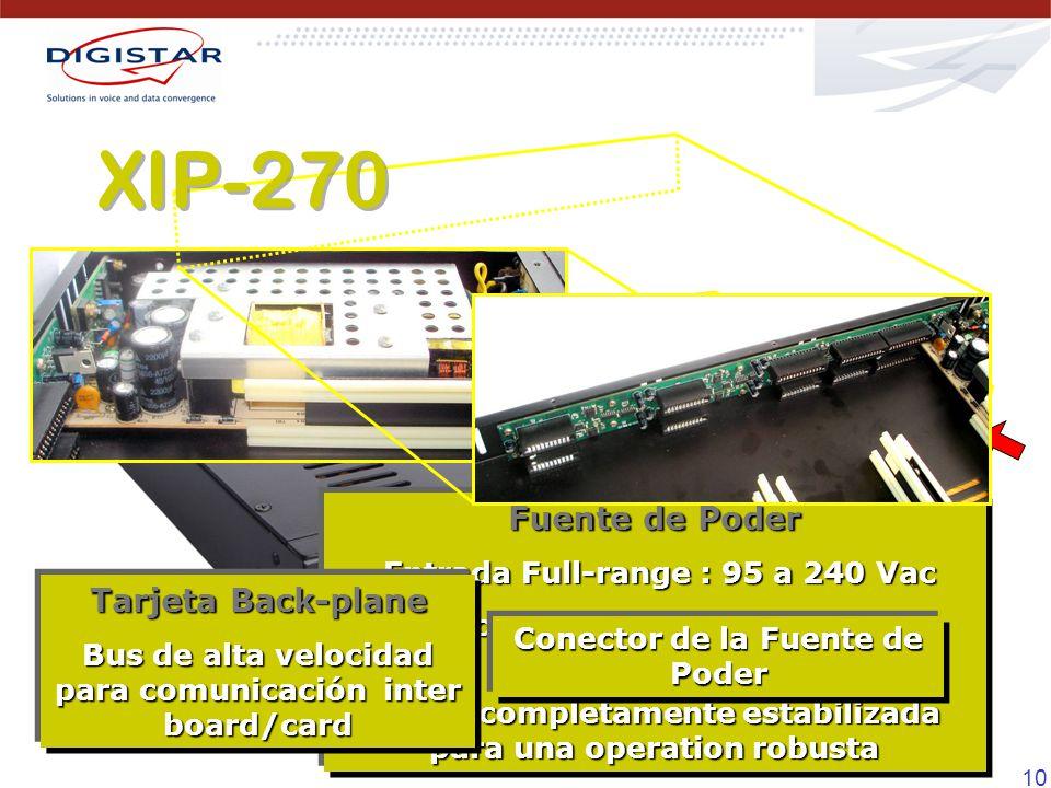 XIP-270 Fuente de Poder Tarjeta Back-plane