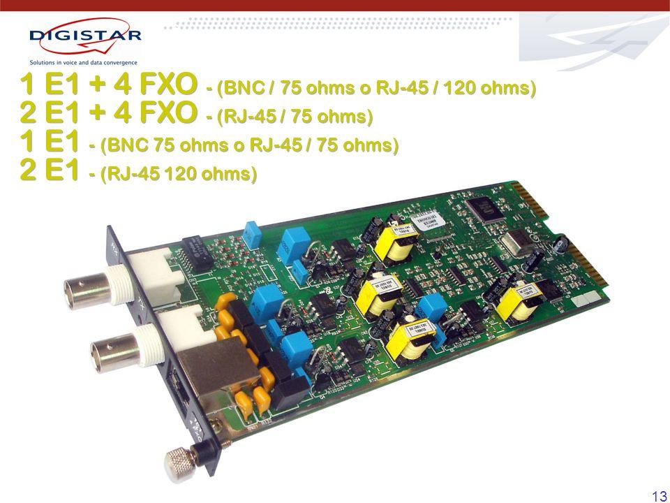 1 E1 + 4 FXO - (BNC / 75 ohms o RJ-45 / 120 ohms)