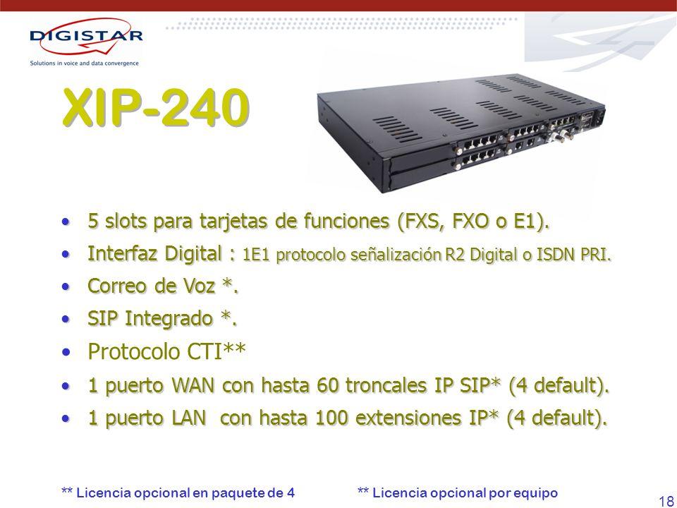 XIP-240 5 slots para tarjetas de funciones (FXS, FXO o E1). Interfaz Digital : 1E1 protocolo señalización R2 Digital o ISDN PRI.
