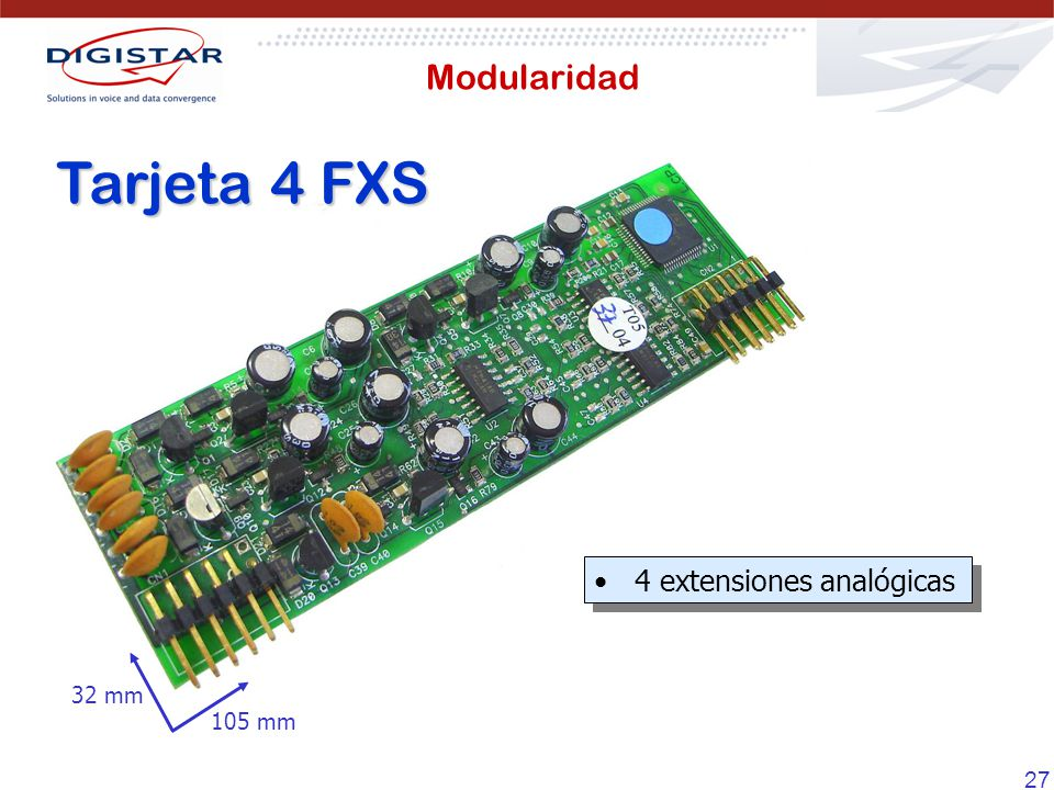 Modularidad Tarjeta 4 FXS 4 extensiones analógicas 105 mm 32 mm