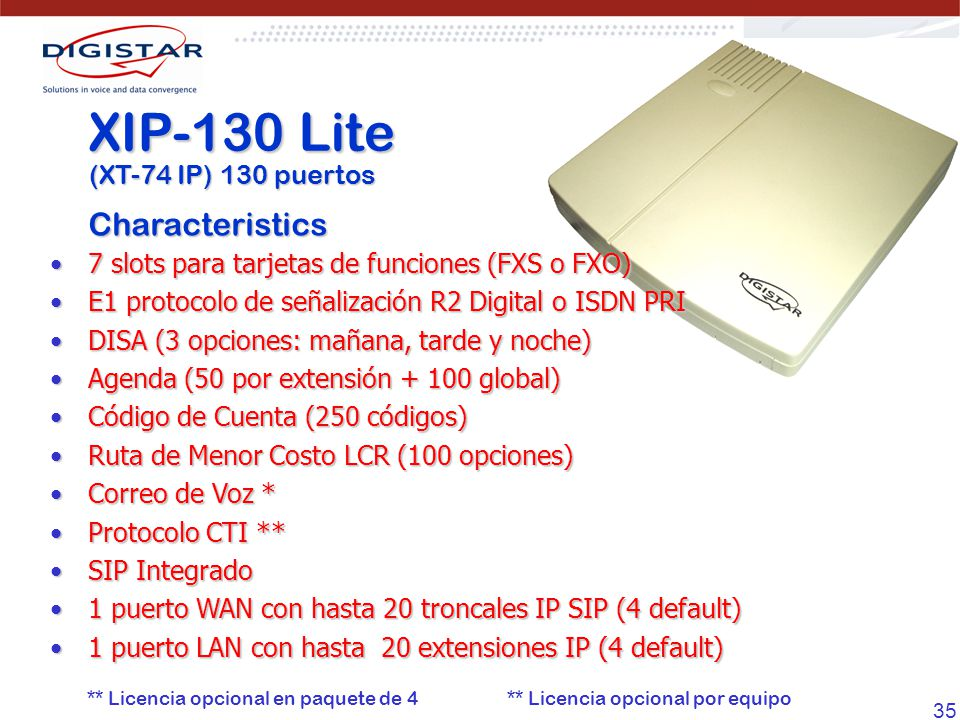 XIP-130 Lite Characteristics (XT-74 IP) 130 puertos