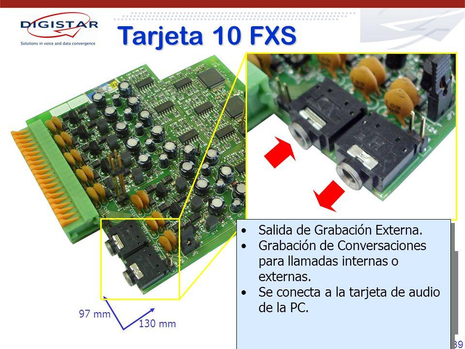 Tarjeta 10 FXS Salida de Grabación Externa.