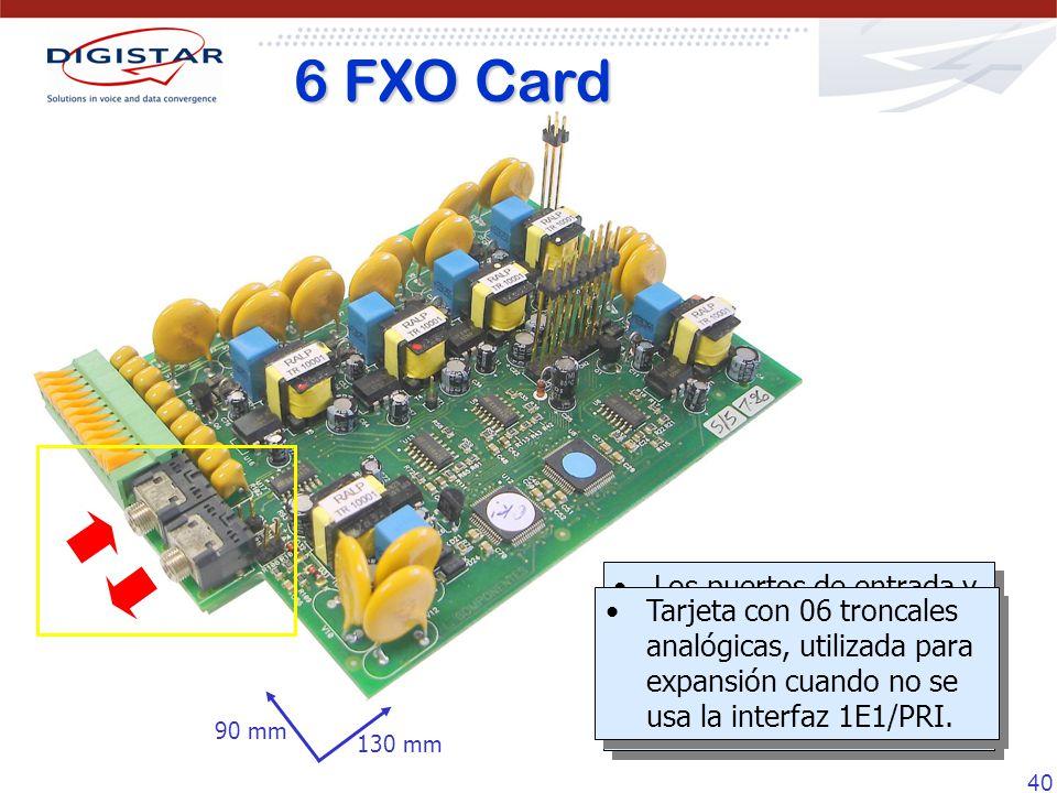 6 FXO Card Los puertos de entrada y salida de música/audio funcionan de la misma forma que en la tarjeta 10 FXS.