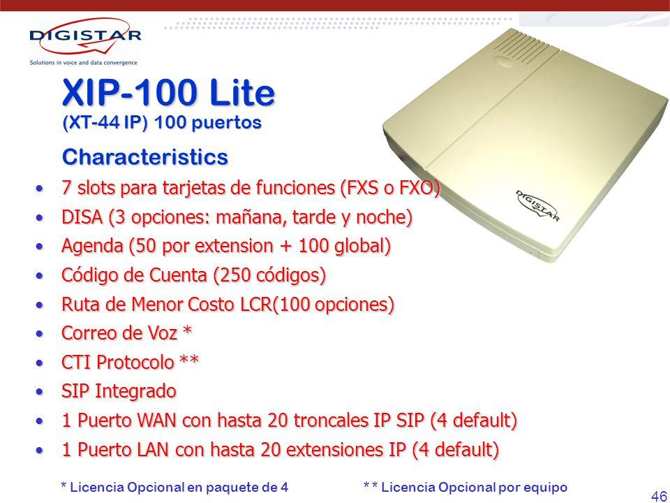 XIP-100 Lite Characteristics (XT-44 IP) 100 puertos