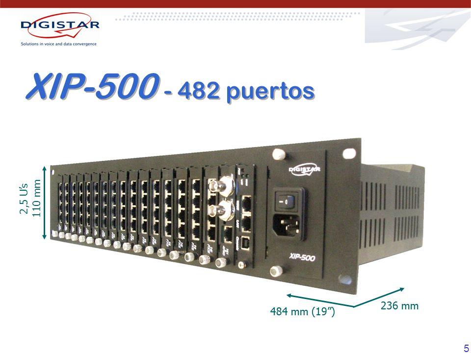 XIP-500 - 482 puertos 2,5 U's 110 mm 484 mm (19 ) 236 mm 236 mm