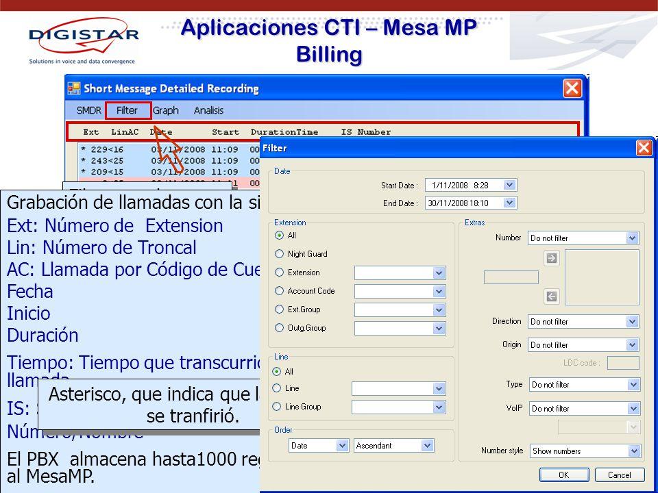 Aplicaciones CTI – Mesa MP Billing