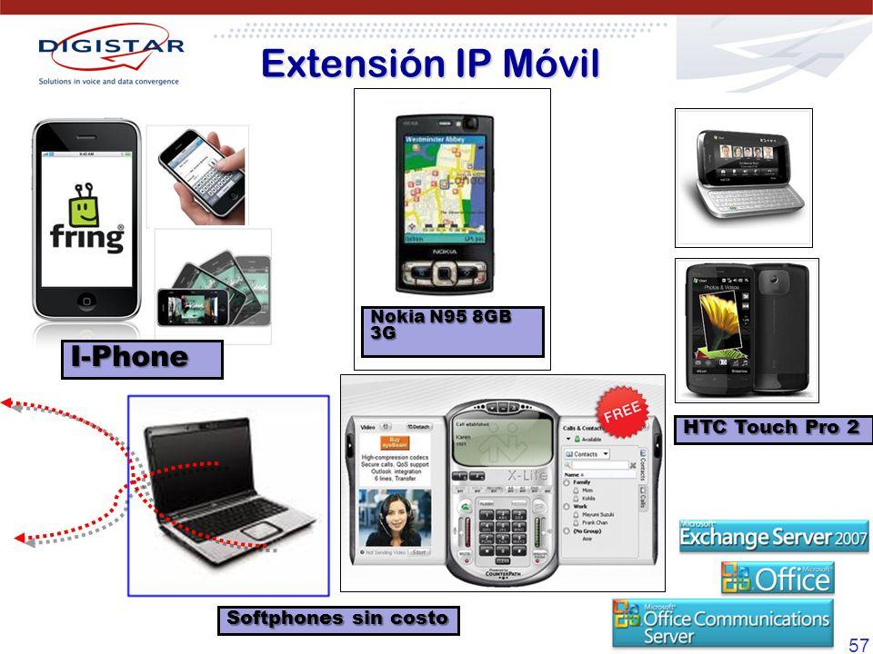 Extensión IP Móvil I-Phone HTC Touch Pro 2 Softphones sin costo