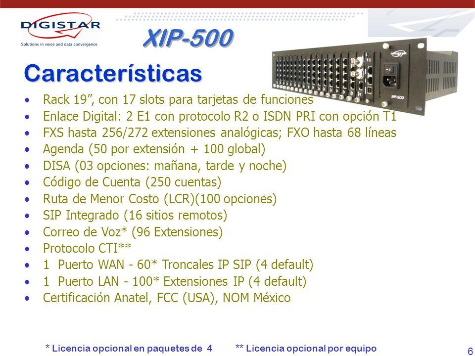 XIP-500 Características. Rack 19 , con 17 slots para tarjetas de funciones. Enlace Digital: 2 E1 con protocolo R2 o ISDN PRI con opción T1.