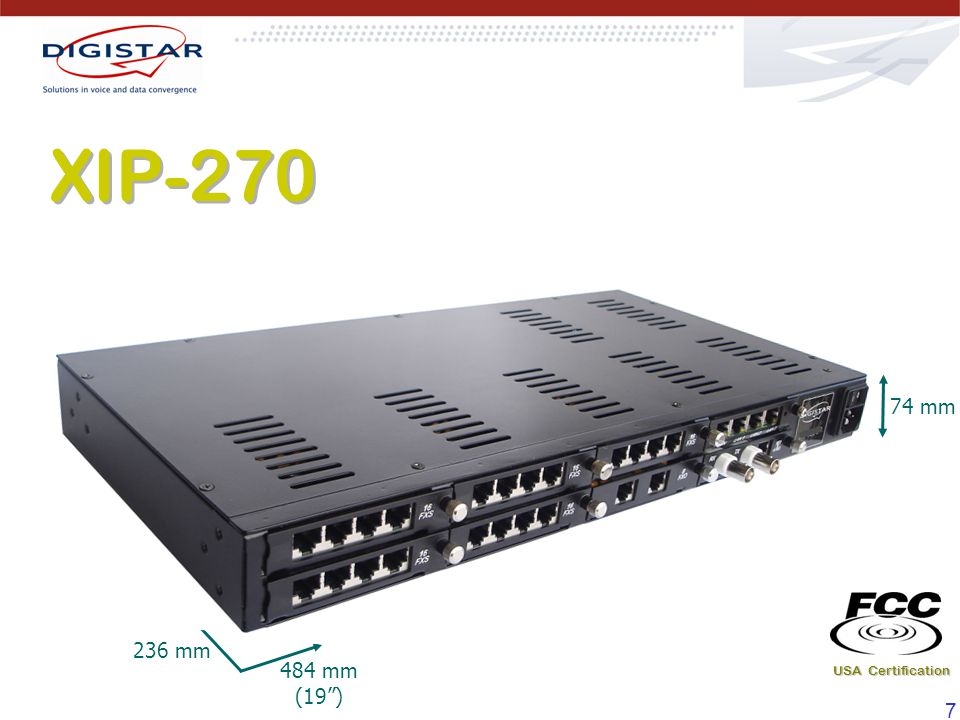 XIP-270 74 mm 484 mm (19 ) 236 mm USA Certification