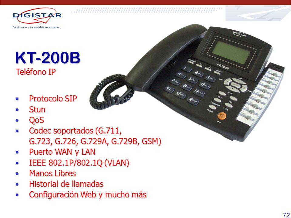 KT-200B Teléfono IP Protocolo SIP Stun QoS