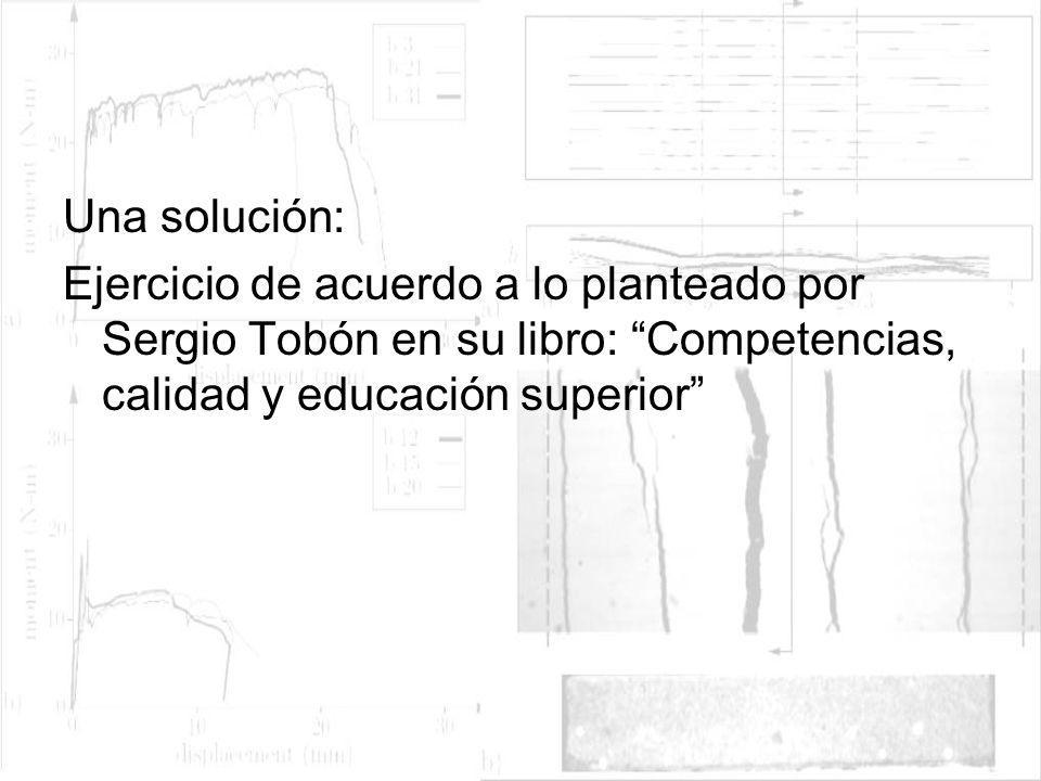 Una solución:Ejercicio de acuerdo a lo planteado por Sergio Tobón en su libro: Competencias, calidad y educación superior
