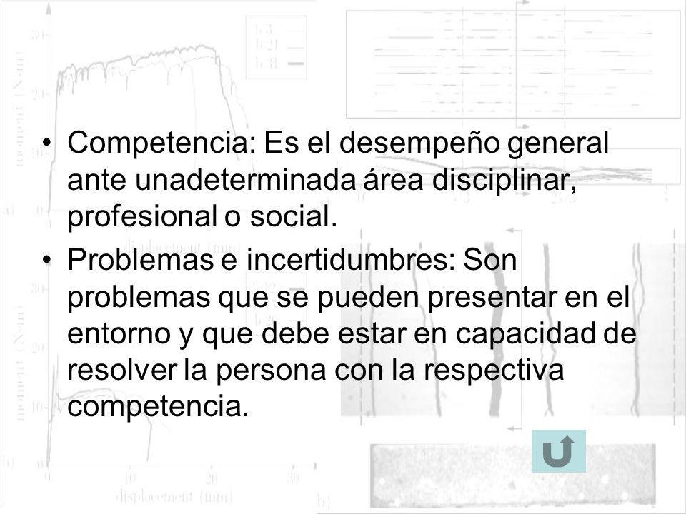 Competencia: Es el desempeño general ante unadeterminada área disciplinar, profesional o social.