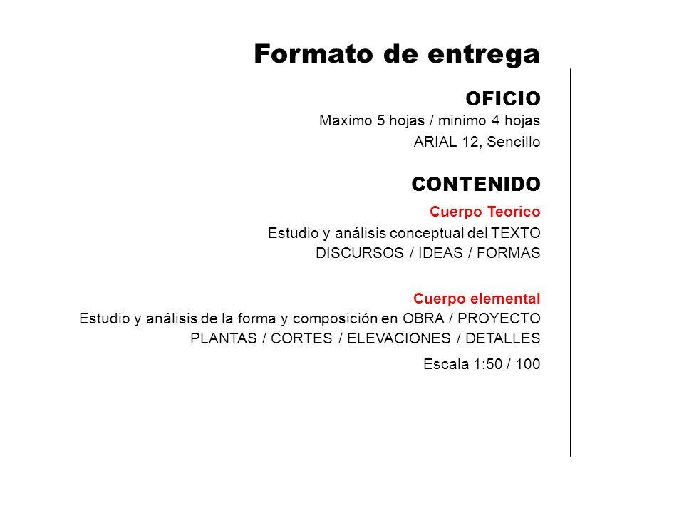 Formato de entrega OFICIO CONTENIDO Maximo 5 hojas / minimo 4 hojas