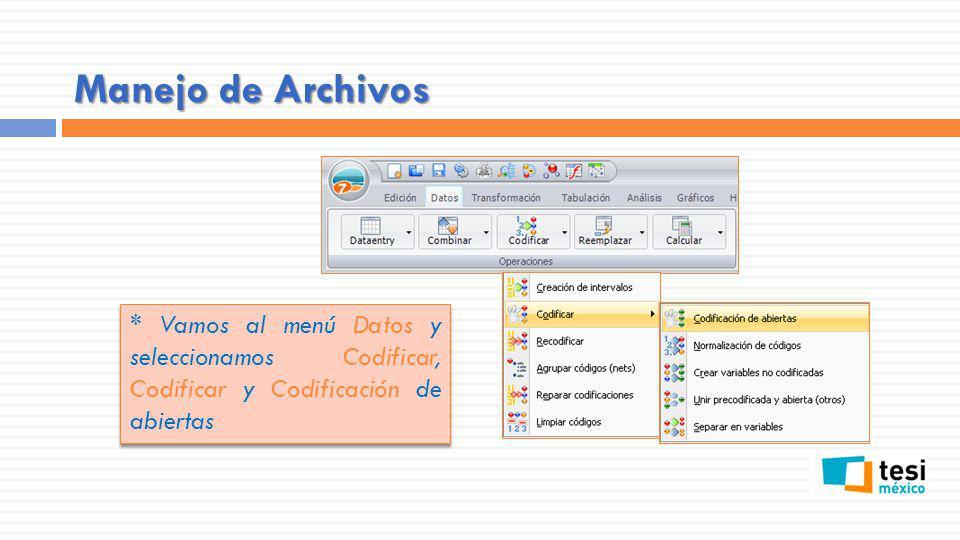 Manejo de Archivos * Vamos al menú Datos y seleccionamos Codificar, Codificar y Codificación de abiertas.