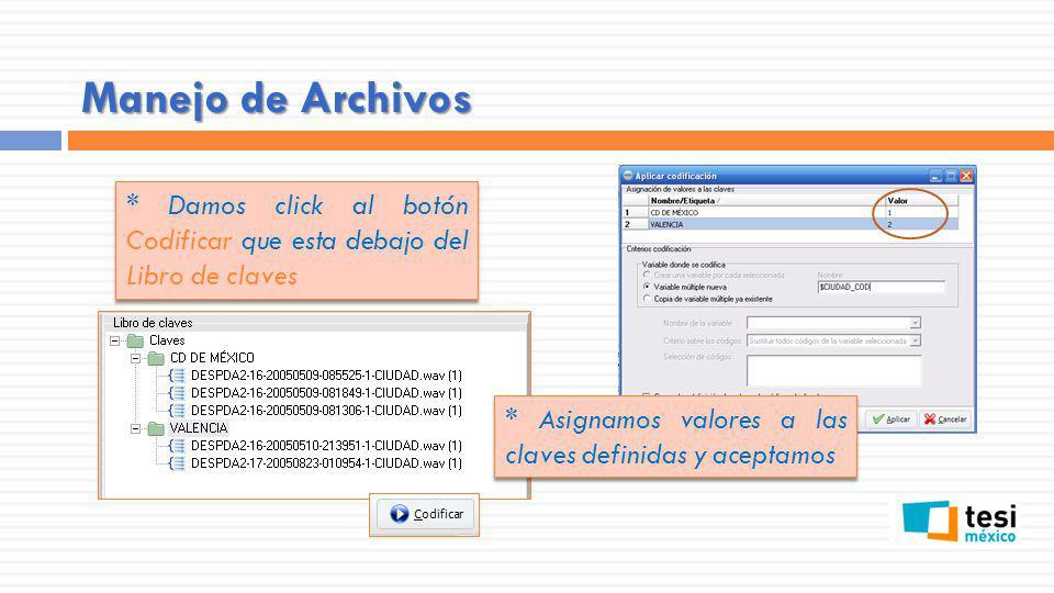 Manejo de Archivos * Damos click al botón Codificar que esta debajo del Libro de claves.