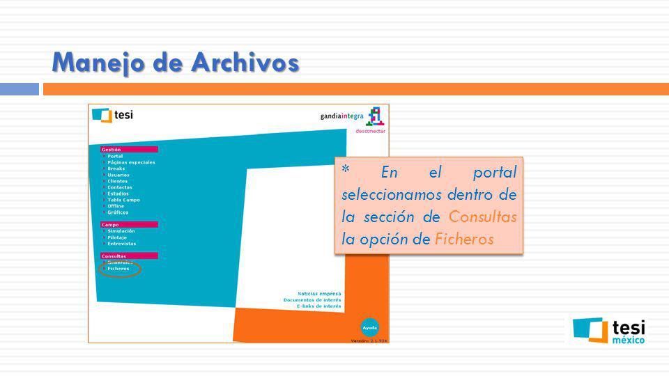 Manejo de Archivos * En el portal seleccionamos dentro de la sección de Consultas la opción de Ficheros.