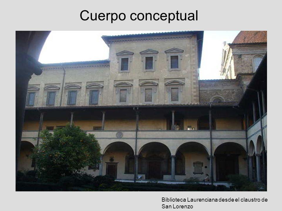 Cuerpo conceptual Biblioteca Laurenciana desde el claustro de San Lorenzo
