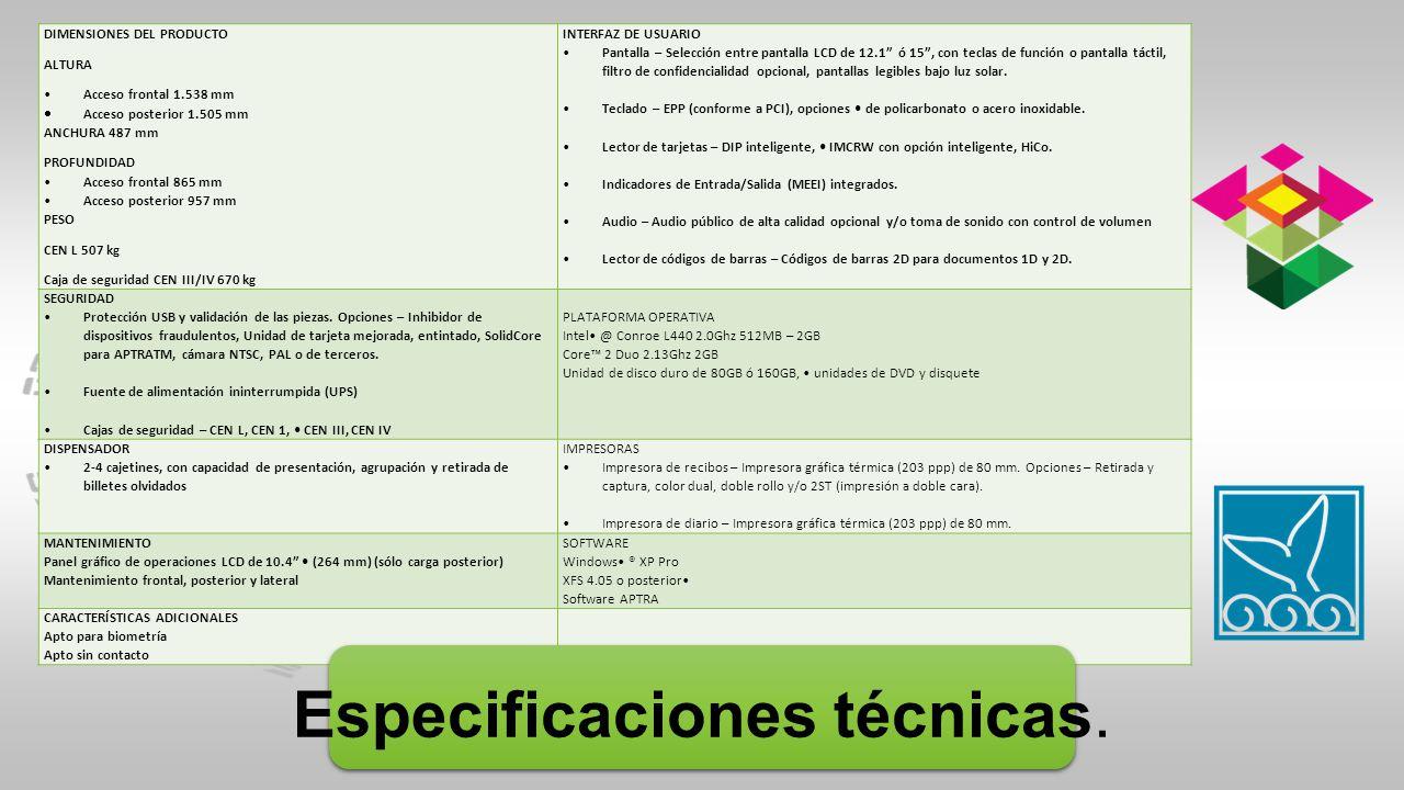 Especificaciones técnicas.