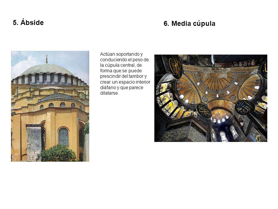 5. Ábside 6. Media cúpula.