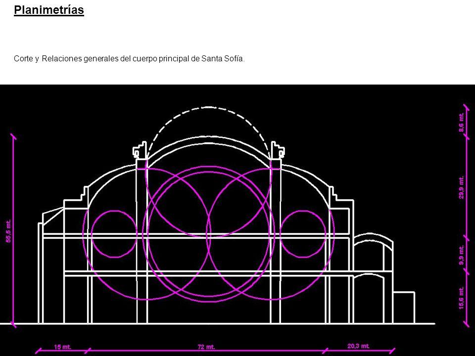 Planimetrías Corte y Relaciones generales del cuerpo principal de Santa Sofía.
