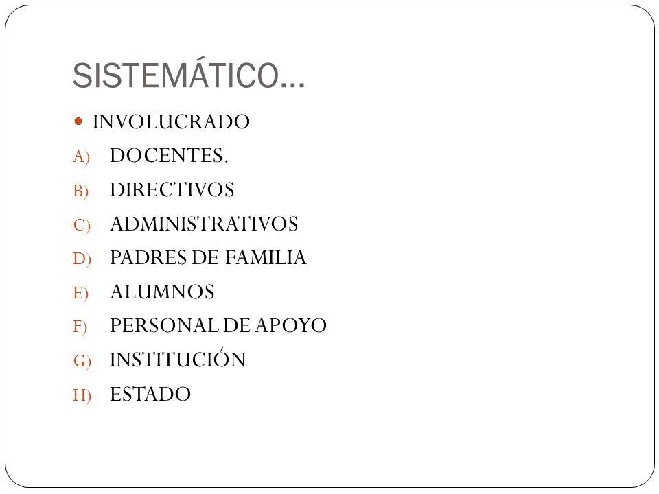 SISTEMÁTICO… INVOLUCRADO DOCENTES. DIRECTIVOS ADMINISTRATIVOS