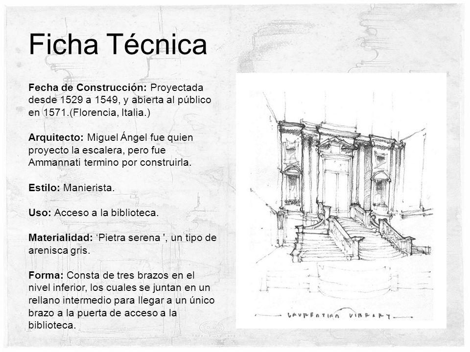 Ficha TécnicaFecha de Construcción: Proyectada desde 1529 a 1549, y abierta al público en 1571.(Florencia, Italia.)