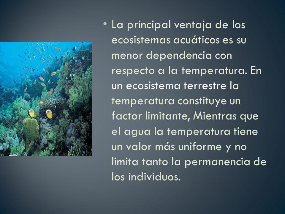 La principal ventaja de los ecosistemas acuáticos es su menor dependencia con respecto a la temperatura.