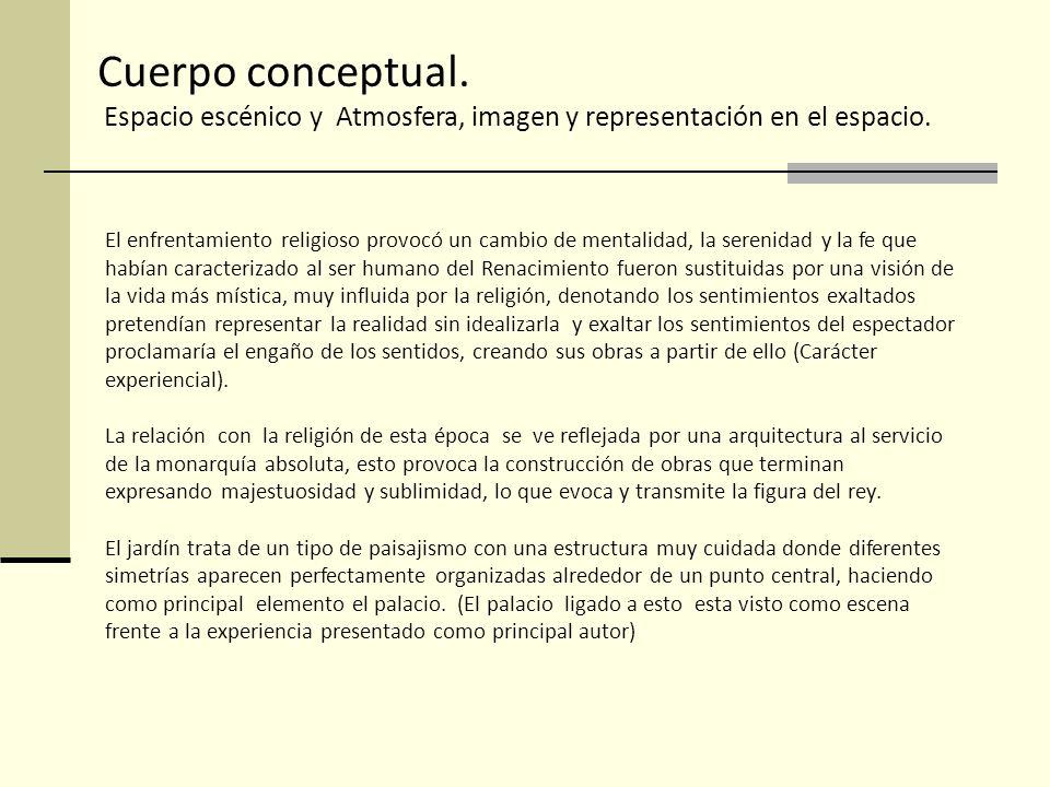 Cuerpo conceptual. Espacio escénico y Atmosfera, imagen y representación en el espacio.