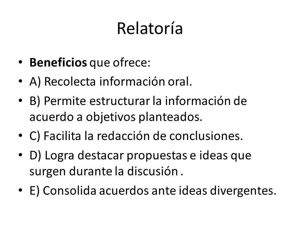 Relatoría Beneficios que ofrece: A) Recolecta información oral.