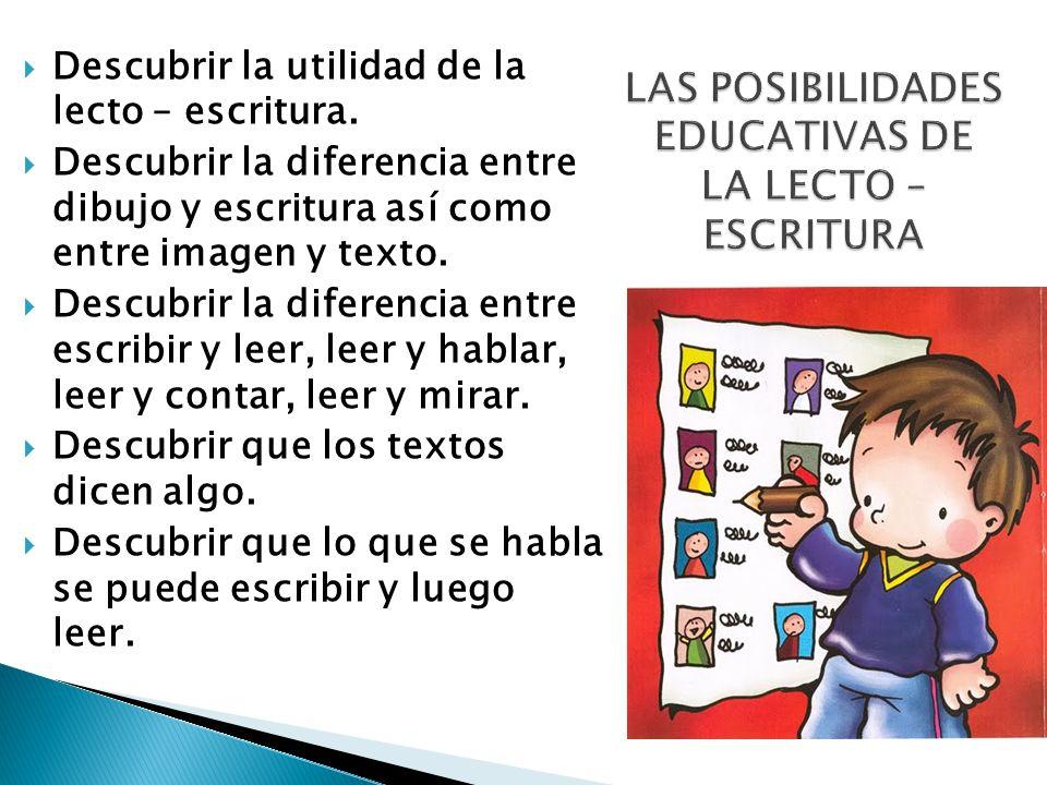 LAS POSIBILIDADES EDUCATIVAS DE LA LECTO – ESCRITURA