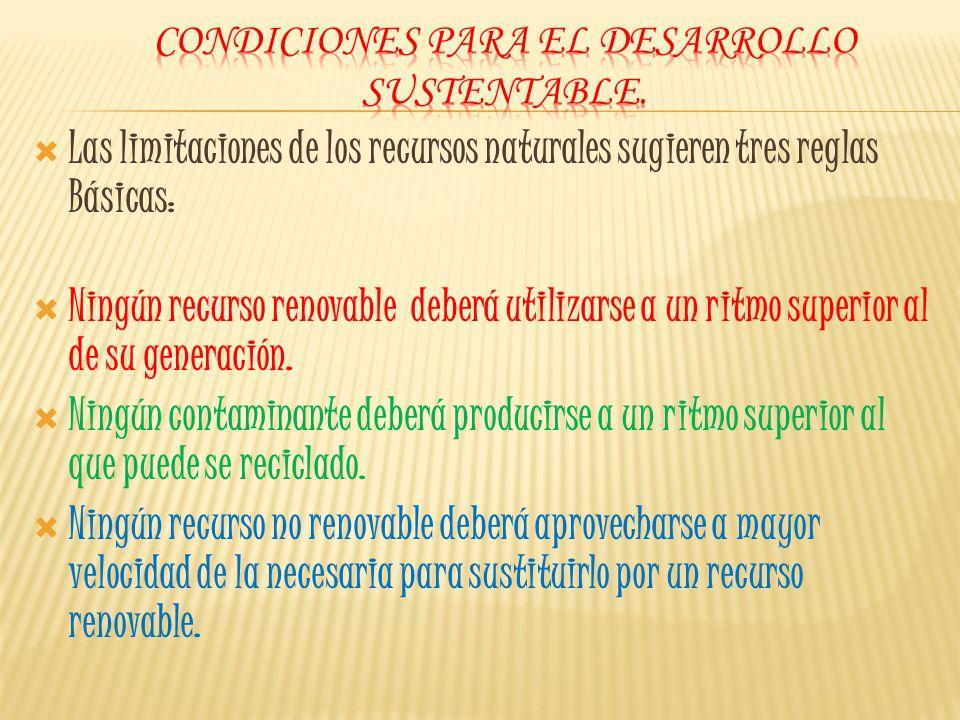 Condiciones para el desarrollo sustentable.