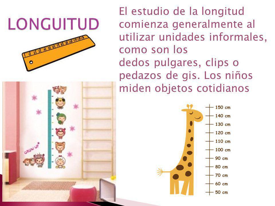 El estudio de la longitud comienza generalmente al utilizar unidades informales, como son los