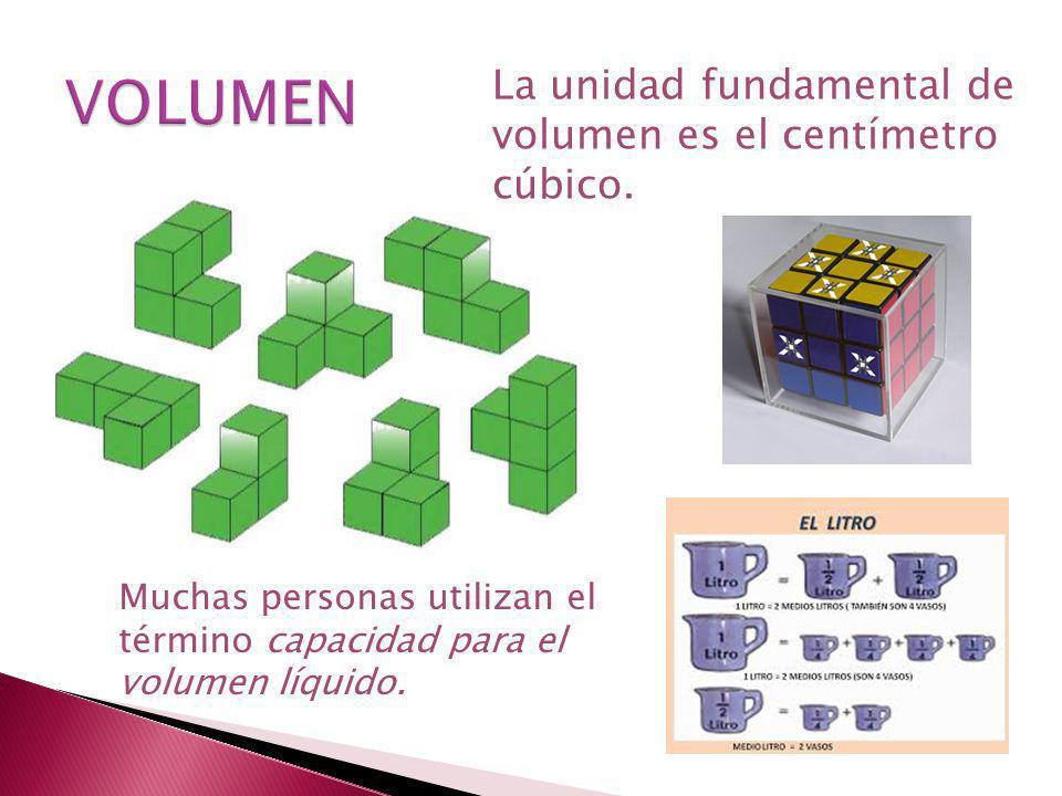 VOLUMEN La unidad fundamental de volumen es el centímetro cúbico.