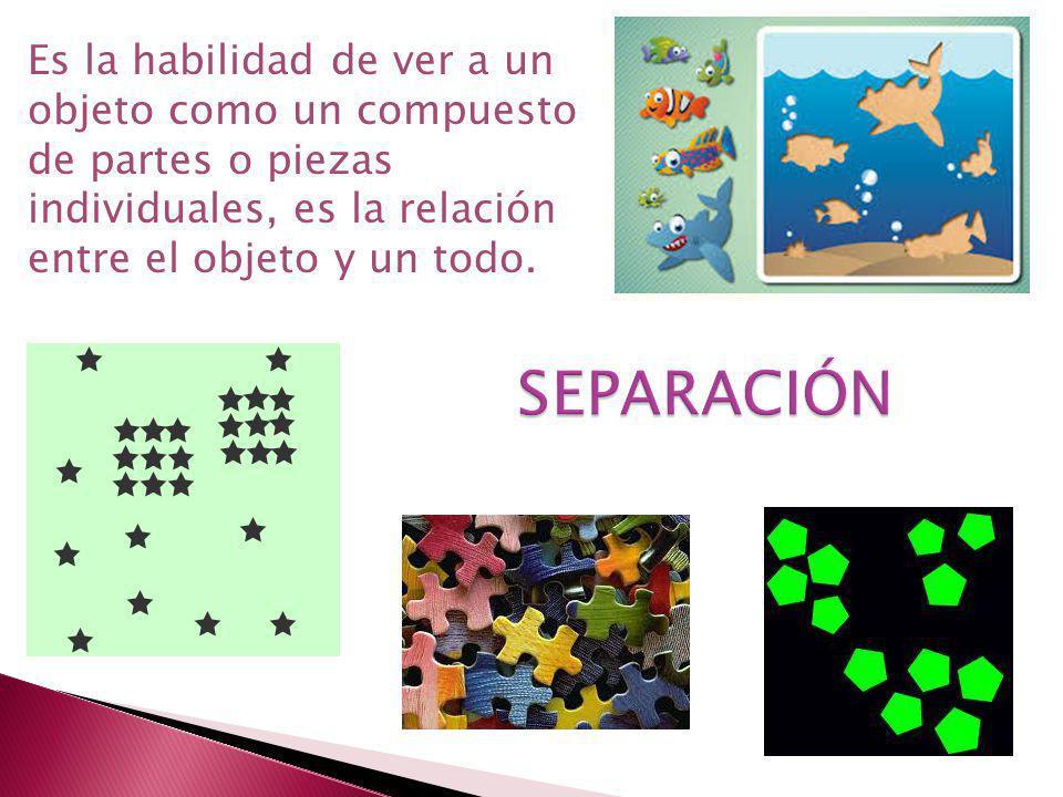 Es la habilidad de ver a un objeto como un compuesto de partes o piezas individuales, es la relación entre el objeto y un todo.
