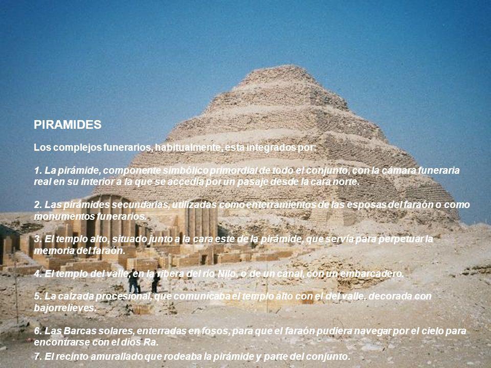 PIRAMIDES Los complejos funerarios, habitualmente, esta integrados por: