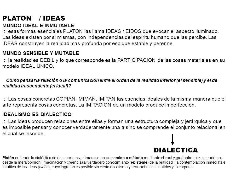 PLATON / IDEAS DIALECTICA MUNDO IDEAL E INMUTABLE