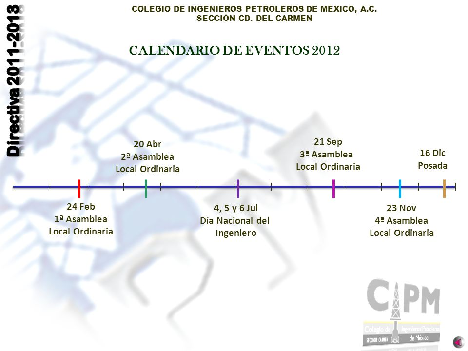 CALENDARIO DE EVENTOS 2012 20 Abr 2ª Asamblea Local Ordinaria 21 Sep