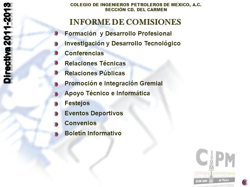 INFORME DE COMISIONES Formación y Desarrollo Profesional