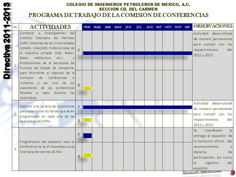 PROGRAMA DE TRABAJO DE LA COMISIÓN DE CONFERENCIAS