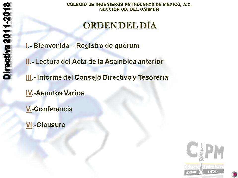 ORDEN DEL DÍA I.- Bienvenida – Registro de quórum