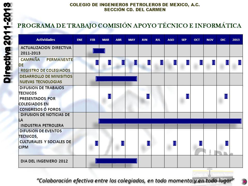PROGRAMA DE TRABAJO COMISIÓN APOYO TÉCNICO E INFORMÁTICA